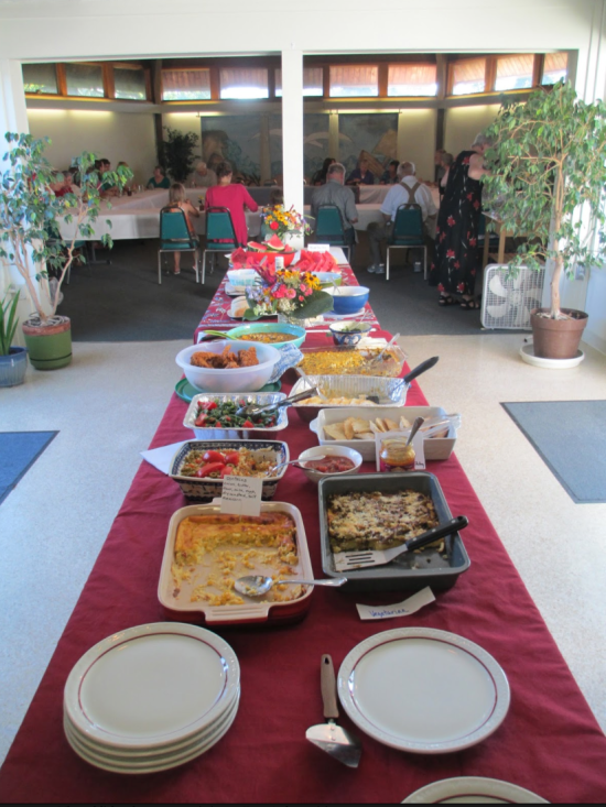 A Chilean pitch-in luncheon for our synod missionary, Karen Anderson